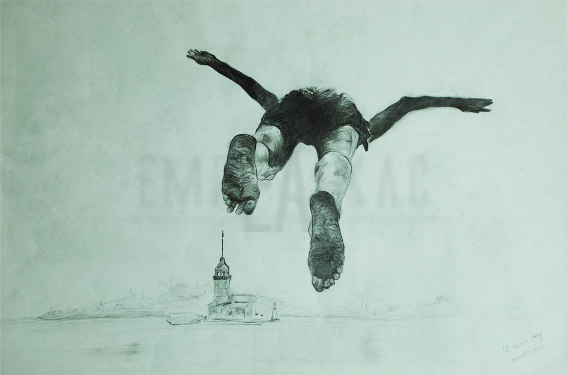 istanbul çizimi denize atlayan adam çizim
