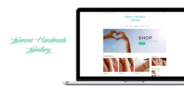 jasmine handmade jewellery website design