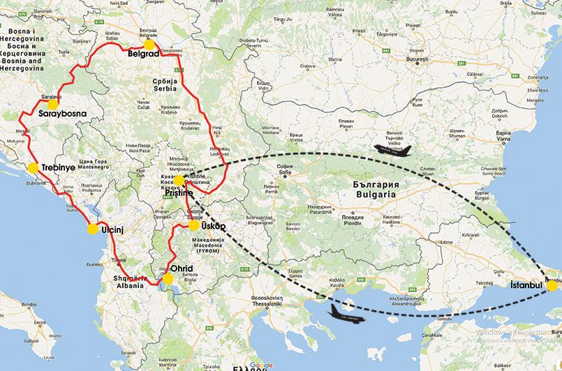 balkanlar tur rotası uçaklı otobüsle harita
