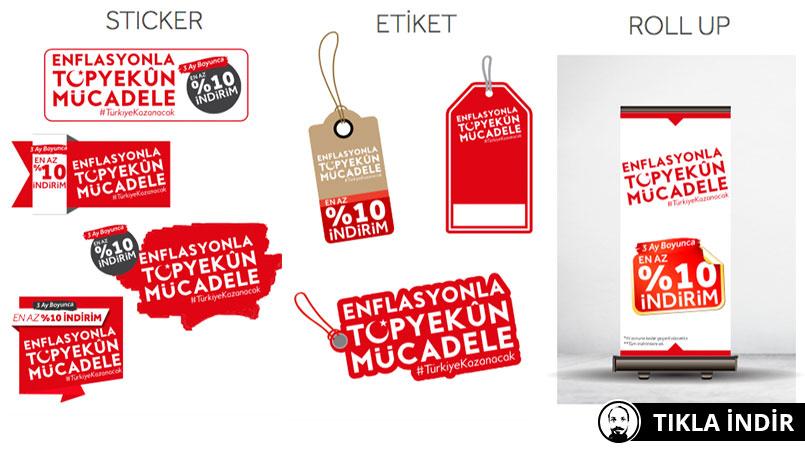 enflasyonla mücadele etiket sticker poster rollup pdf vektör